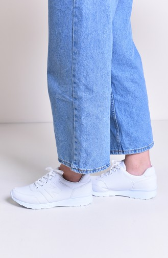 Allforce Women´s Sport Shoes 0777-02 White Leather 0777-02