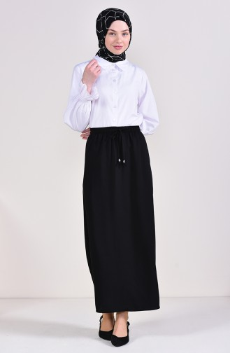 Elastic Waist Skirt 1001A-08 Black 1001A-08