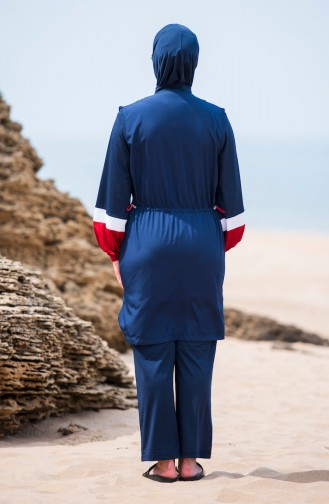 ملابس سباحة للمحجبات بتصميم سحاب 363-02 لون كحلي 363-02
