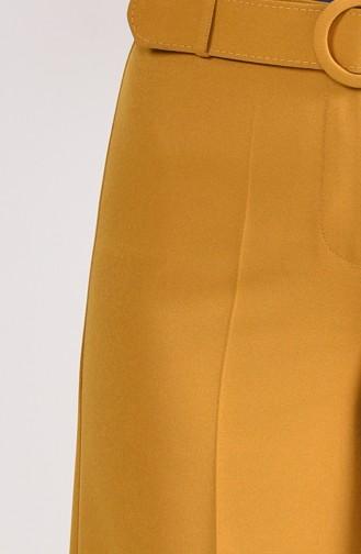 Kemerli Bol Paça Pantolon 3121-08 Hardal