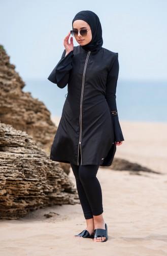 Schwarz Hijab Badeanzug 310-01