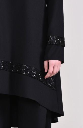Sequined Tunic Pants Double Suit 0231-01 Black 0231-01