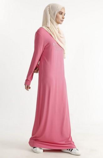 Taş Baskılı Basic Elbise 1286-03 Şekerpembe 1286-03