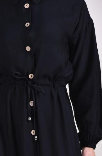 Aerobin Kumaş Önü Düğmeli Elbise 8161-08 Siyah