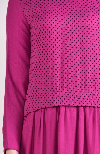 Polka Dot Garnished Dress 3089-01 Fuchsia 3089-01
