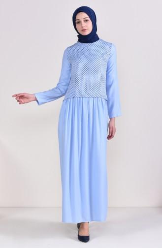 Puantiyeli Garnili Elbise 3089-03 Bebe Mavisi 3089-03