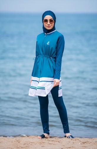Oil Blue Swimsuit Hijab 1276-02