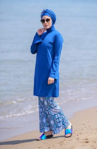 Printed Hijab Swimsuit 344-01 Petrol 344-01