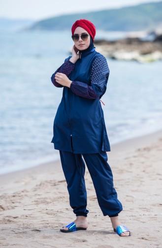 ملابس سباحة للمحجبات بتصميم سحاب 350-01 لون كحلي 350-01