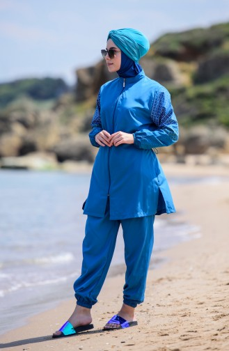Zippered Hijab Swimsuit  350-03 Petrol 350-03
