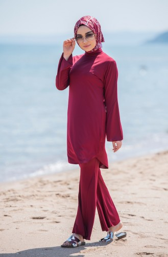 Spanish Sleeve Hijab Swimsuit 354-01 Claret Red 354-01
