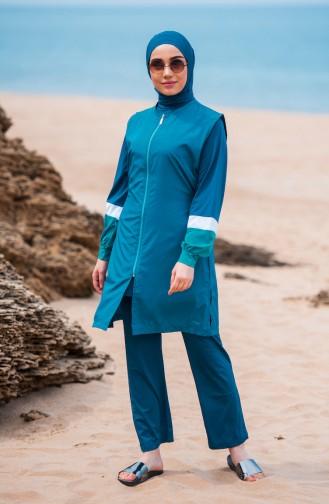 Zippered Hijab Swimsuit  363-03 Petrol 363-03