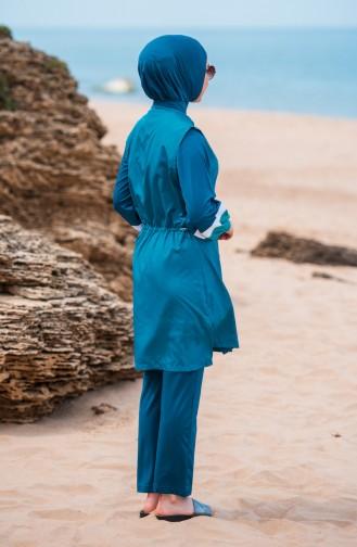 ملابس سباحة للمحجبات بتصميم سحاب 363-03 لون بترولي 363-03