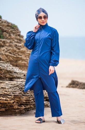 ملابس سباحة للمحجبات بتفاصيل من اللؤلؤ 372-03 لون نيلي 372-03