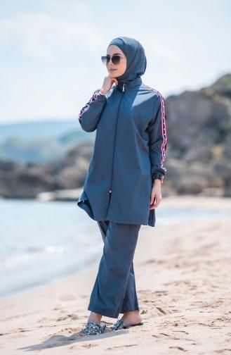 Anthrazit Hijab Badeanzug 373-01