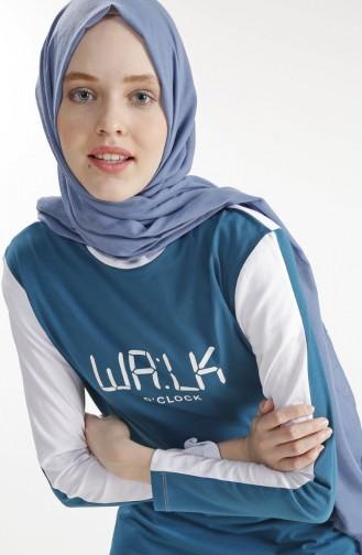 Printed Sports Tunic 1216-01 İndigo 1216-01