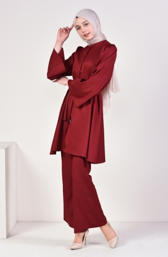 Belted Tunic Pants Binary Suit 0218-08 Claret Red 0218-08
