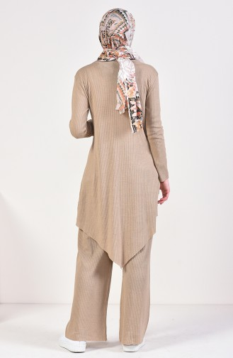 Asymmetric Tunic Pants Binary Suit 3399-14 Dark Beige 3399-14