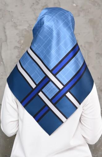 إيشارب التافتا بتصميم مُطبع 95273-04 لون نيلي 95273-04