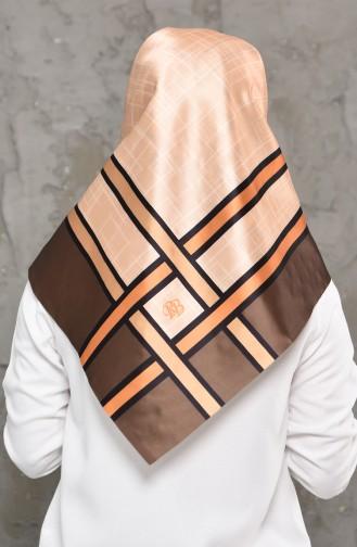إشارب من التافتا بتصميم مطبع 95273-05 لون بني 95273-05
