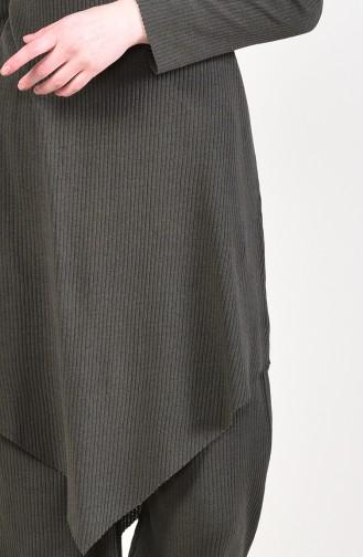 Asimetrik Tunik Pantolon İkili Takım 3399-17 Koyu Haki Yeşil 3399-17