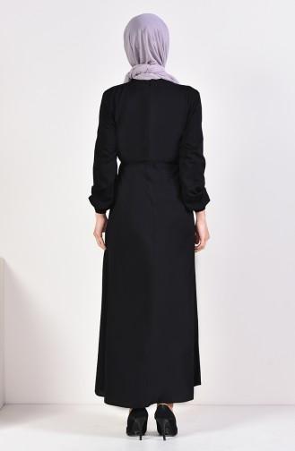 İşlemeli Elbise 10121-01 Siyah