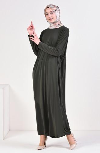 Sandy Yarasa Kol Elbise 8813-01 Haki 8813-01