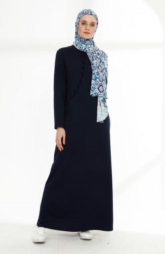 فستان رياضي بتفاصيل أزرار 3080-02 لون كحلي 3080-02