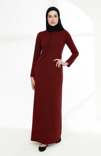 فستان رياضي بتفاصيل أزرار 3080-03 لون خمري 3080-03
