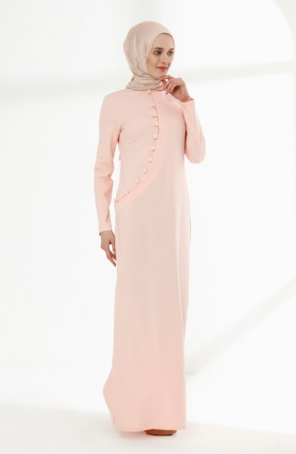 فستان رياضي بتفاصيل أزرار 3080-04 لون وردي 3080-04