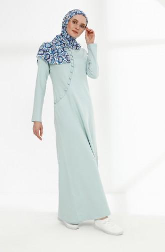 فستان رياضي بتفاصيل أزرار 3080-08 لون أخضر 3080-08