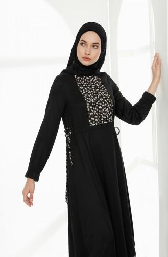 فستان مُرقط بتصميم مزموم عند الخصر 3083-01 لون أسود 3083-01