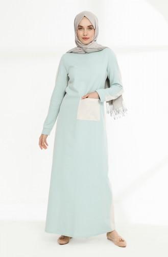 Cepli İki İplik Elbise 3095-09 Yeşil Ekru