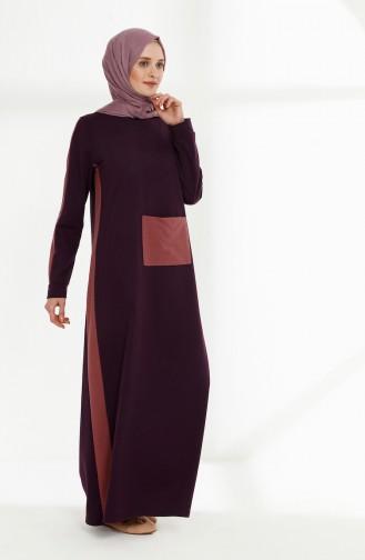 Robe avec Poches 3095-04 Pourpre Rose Pâle 3095-04