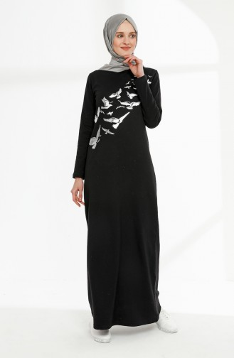 Baskılı İki İplik Elbise 5010-01 Siyah