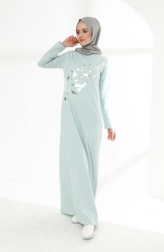 Baskılı İki İplik Elbise 5010-05 Yeşil