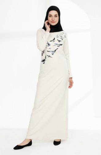 Printed Two Yarn Dress 5010-06 light Beige 5010-06