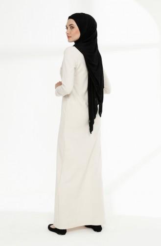 Baskılı İki İplik Elbise 5010-06 Ekru