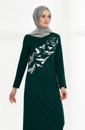 Printed Two Yarn Dress 5010-07 Emerald Green 5010-07