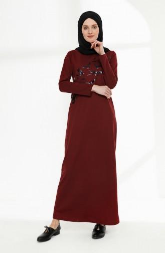 Baskılı İki İplik Elbise 5010-09 Bordo