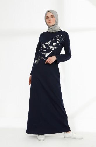 Printed Two Yarn Dress 5010-10 Navy 5010-10