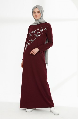 Baskılı İki İplik Elbise 5010-11 Mürdüm