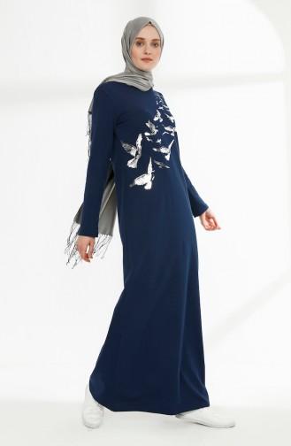 فستان بتصميم مطبع 5010-12 لون نيلي 5010-12