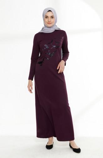Printed Two Yarn Dress 5010-14 Purple 5010-14
