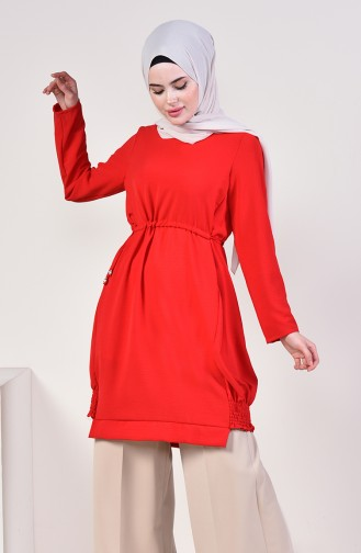 Waist Pleated Tunic 5292-06 Red 5292-06
