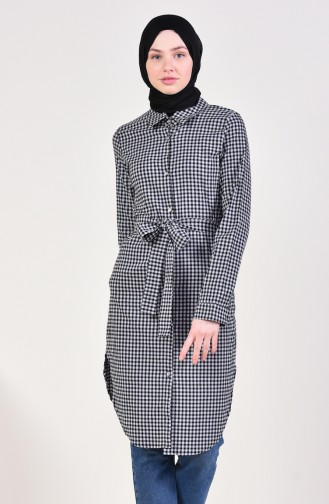 Houndstooth Patterned Belted Tunic 1394-02 Black 1394-02