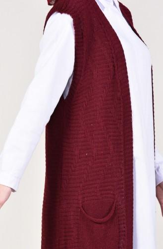 Tricot Pockets Long Vest 8112-06 Bordeaux 8112-06