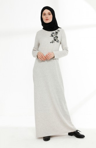 Embroidered Detailed Dress 5013-08 Beige 5013-08