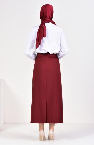 Belt Detailed Pencil Skirt 0412-01 Claret Red 0412-01
