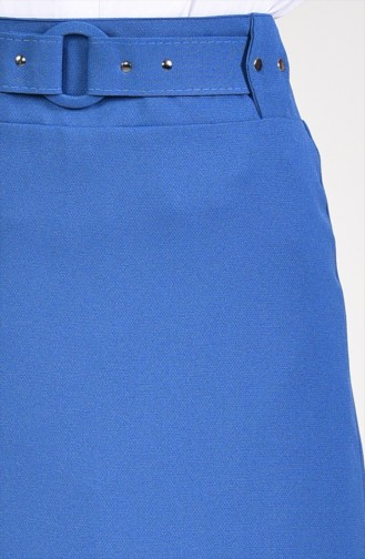 Belt Detailed Pencil Skirt  0412-04 Indigo 0412-04